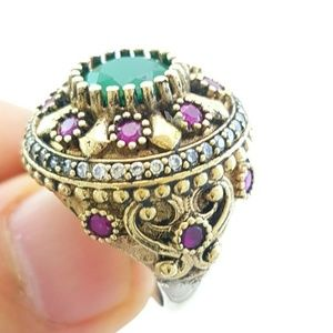 .925 HANDMADE TURKISH EMERALD/RUBY RING sz 7.5
